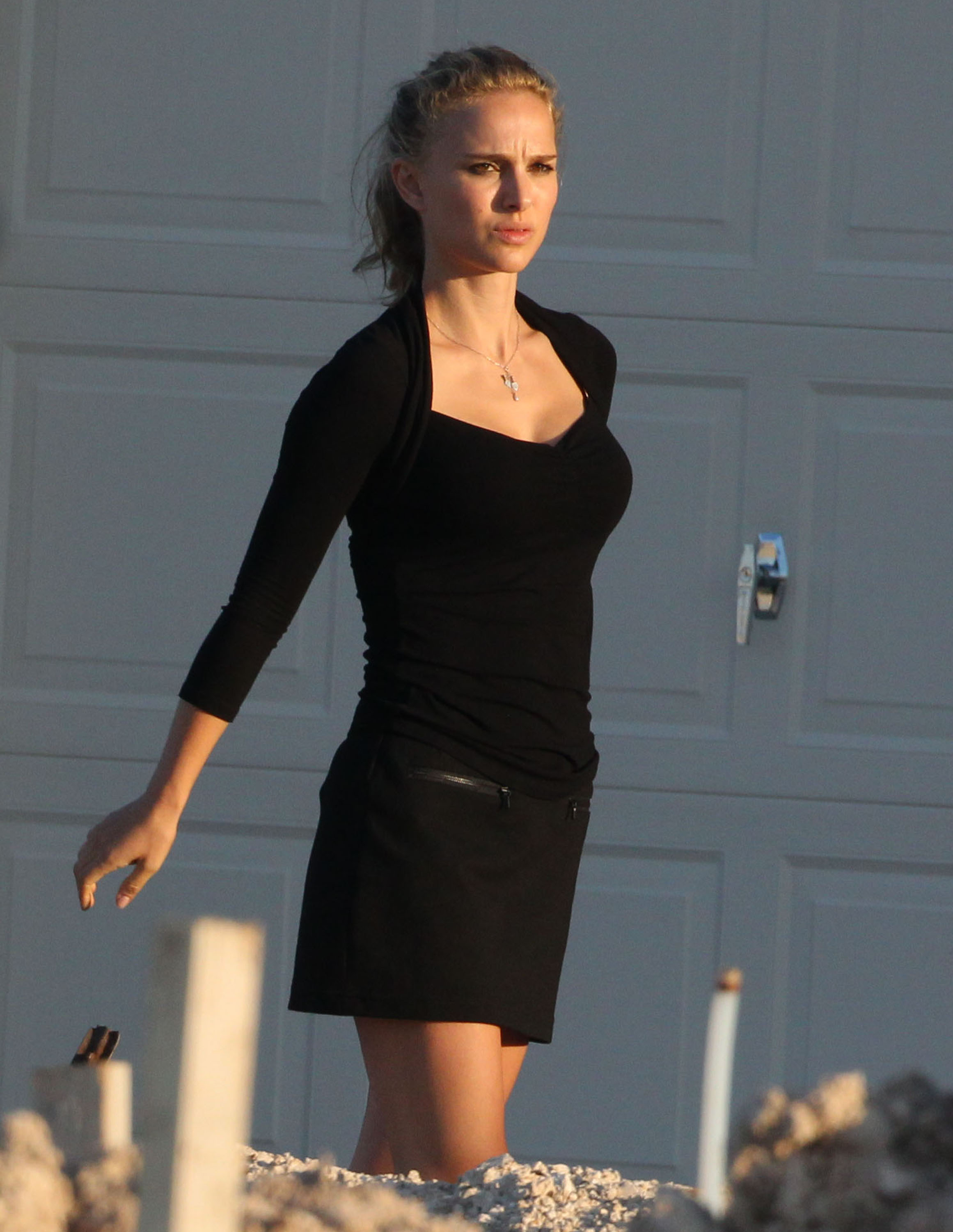 Natalie Portman reported to the set of her untitled Terrence Malick film in Texas.