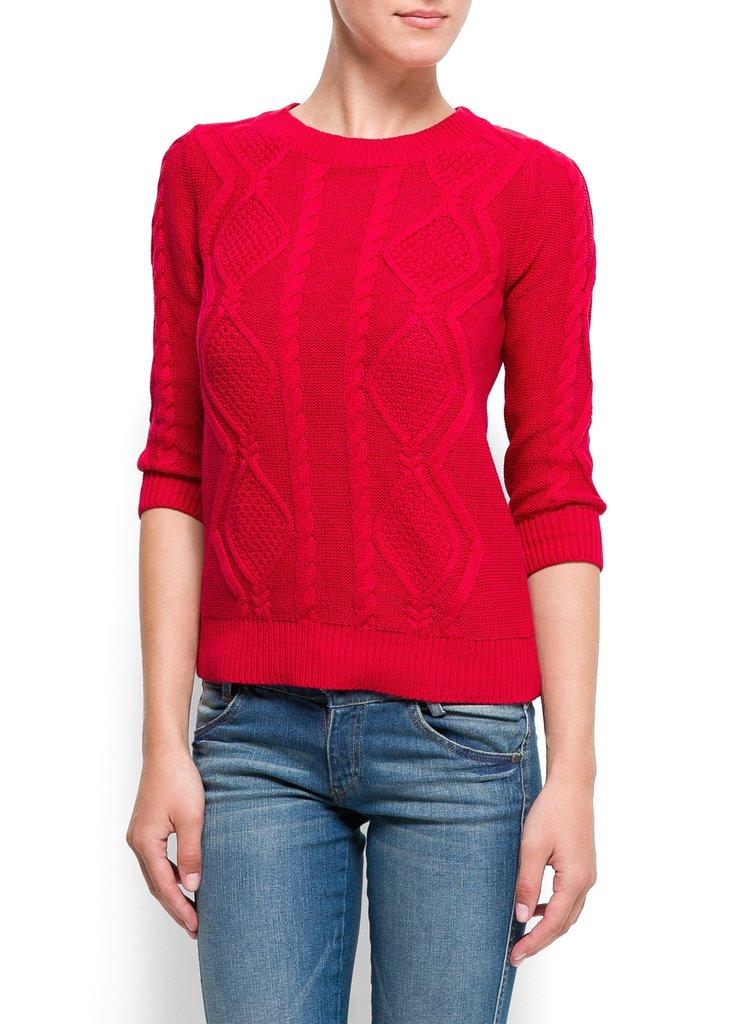 Mango's Cotton Cable Knit Jumper ($45) has a slim fit and comes in the perfect shade of cherry red.