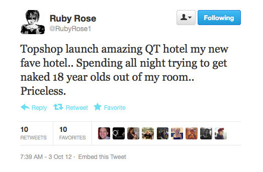 We're not really sure what to think about this tweet from Ruby Rose. . .