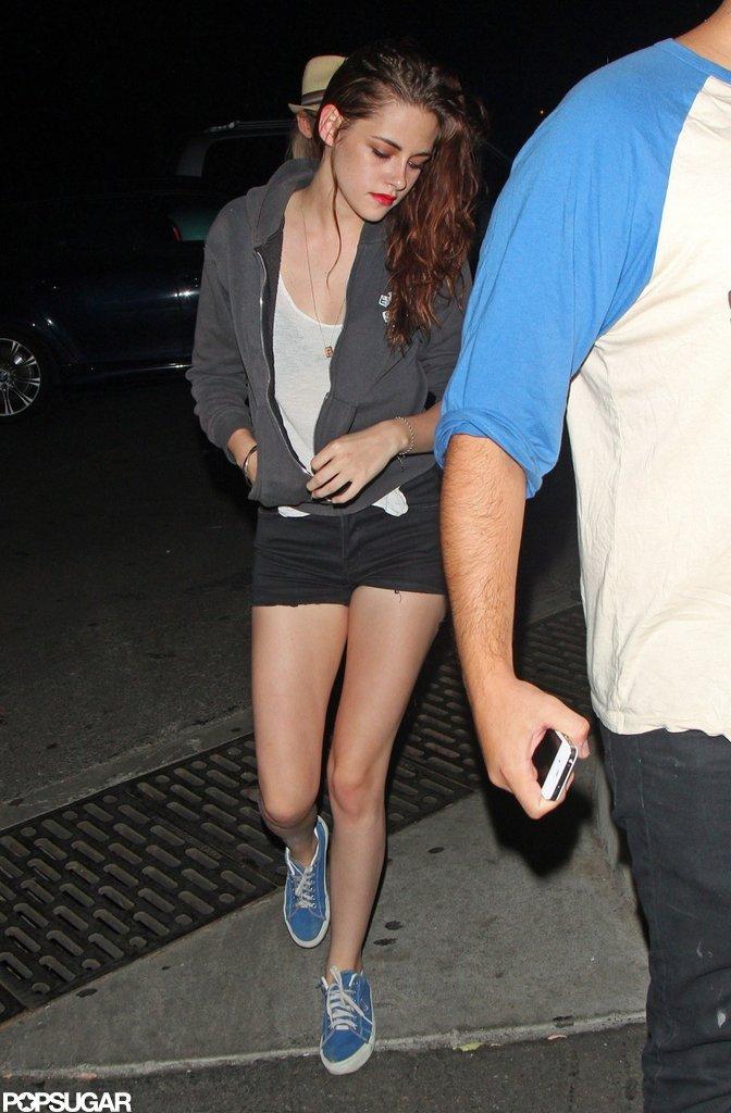 Kristen Stewart wore short cutoffs for a Florence and the Machine concert.