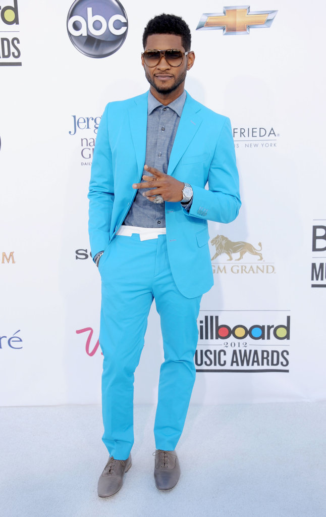 Usher brought on the brights in a blue suit at the Billboard Music Awards in May 2012.