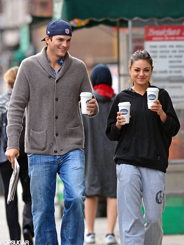 Ashton Kutcher and Mila Kunis had a smiley outing in NYC.