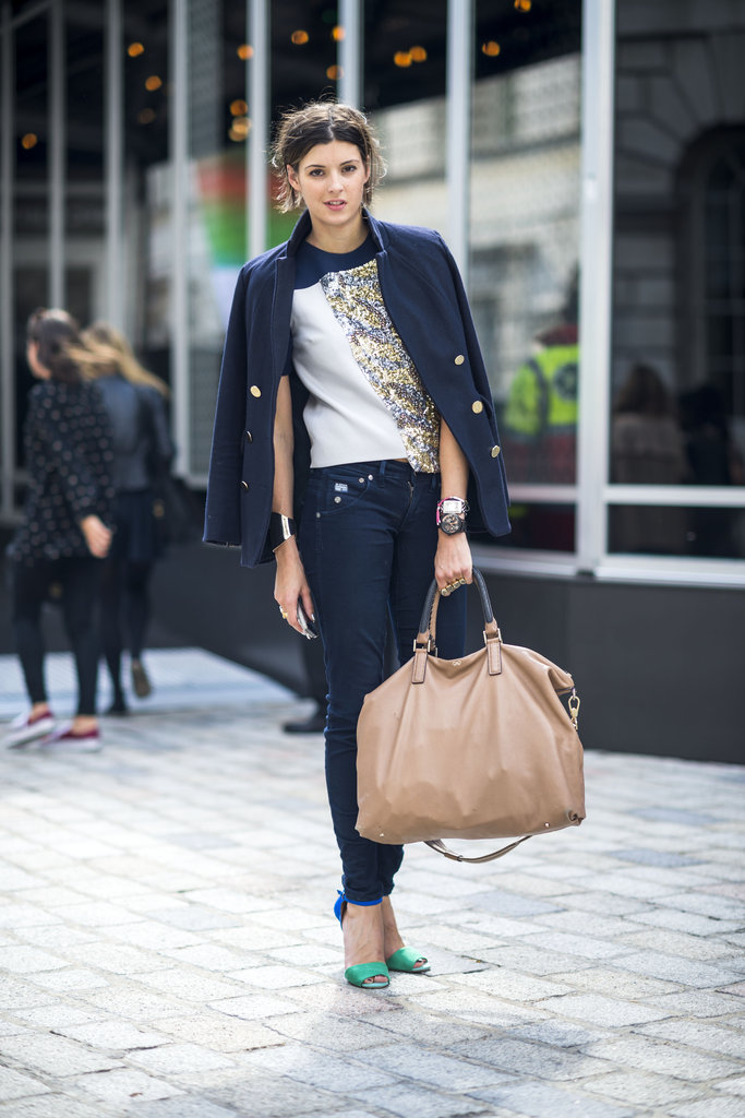 You can cover up on top, but keep things cool on bottom with a pair of vibrant ankle-strap heels to lend color and a little sex appeal to your look. Source: Adam Katz Sinding