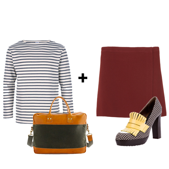 A striped tee can easily be worn year round. Pair this men's slightly oversize silhouette with a pencil skirt, fringed heels, and a smart briefcase for a sexy menswear inspired look.  Get the look:  Orcival T-Shirt ($84) Billykirk for J.Crew Briefcase ($380) A.P.C. Jersey Skirt ($285) Marni Fringed Loafer ($614)