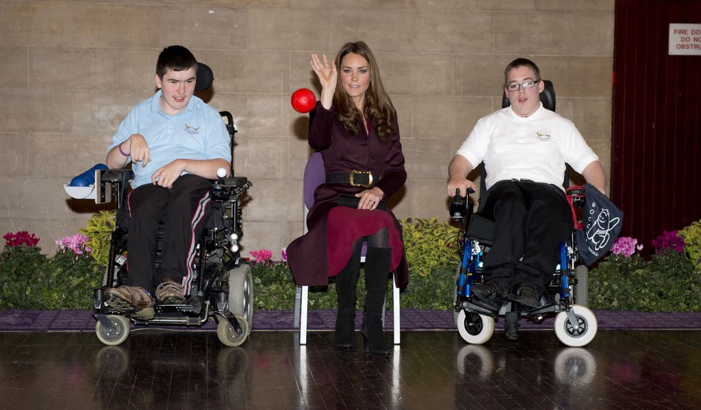 Kate Middleton took part in an exercise with students from the Percy Hedley School.