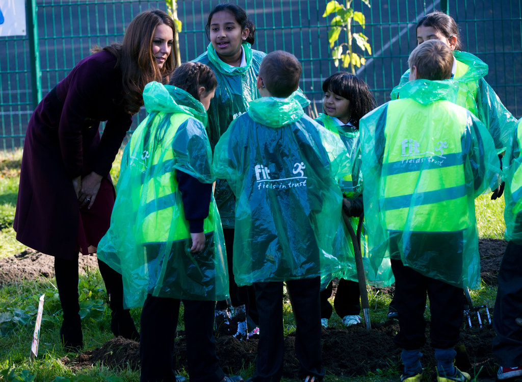 Kate Middleton spoke with a group of children in Newcastle upon Tyne.
