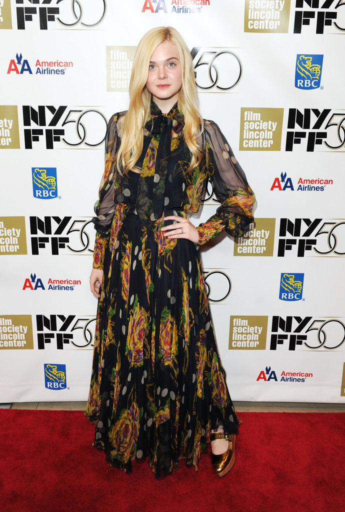 Elle Fanning channeled the '70s in a vintage maxi dress and Marni wedges at the Ginger & Rosa premiere in NYC.