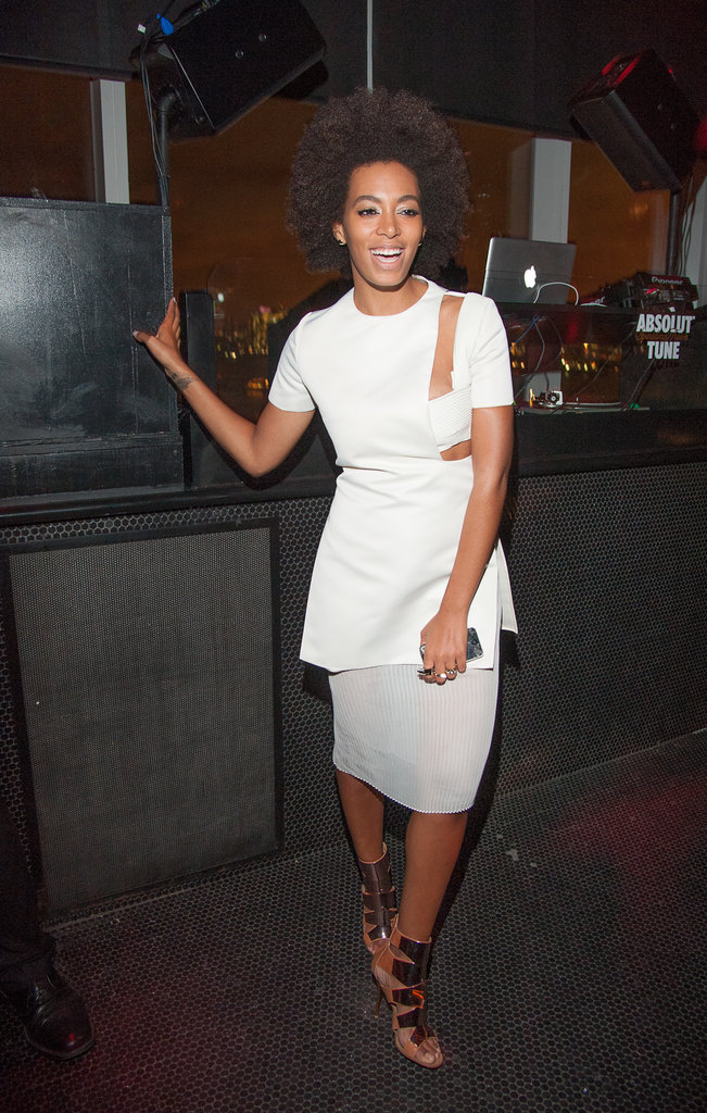 Solange Knowles took the minimalist approach to cocktail dressing in a clean-lined, cutout Esteban Cortazar Resort 2013 dress and Giuseppe Zanotti tan booties at a party in NYC.