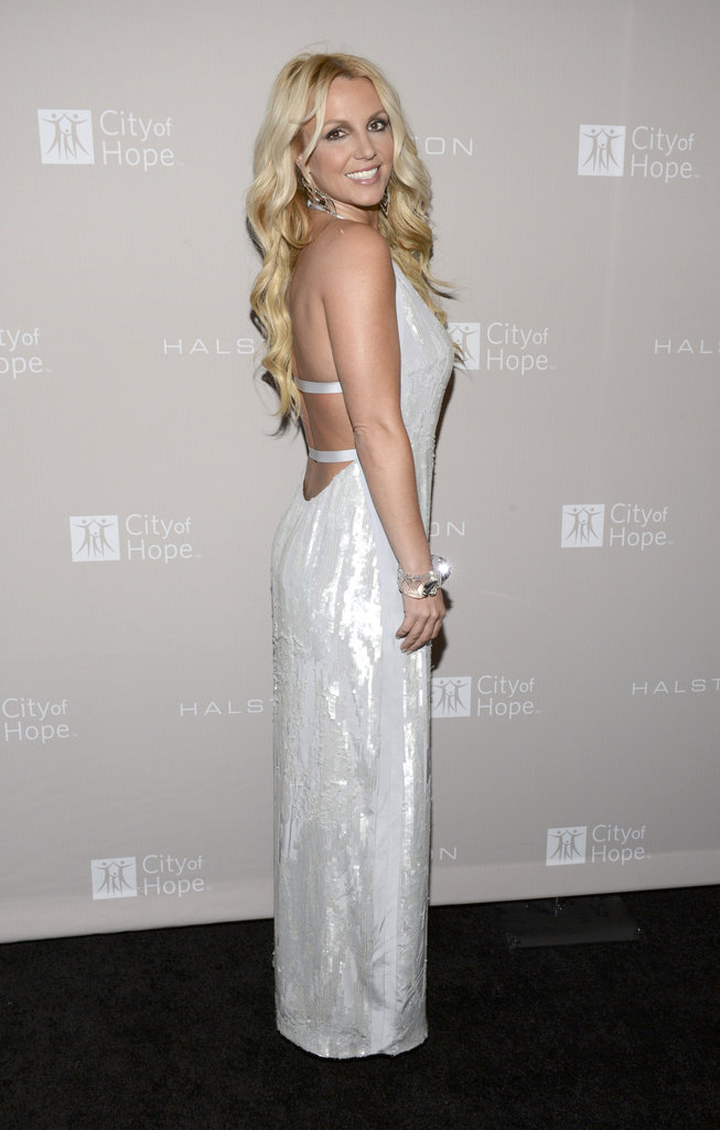 Britney Spears opted for backless Halston Heritage in LA.