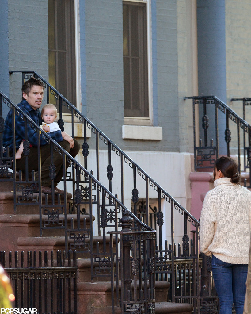 Ethan Hawke and Katie Holmes chatted in NYC.