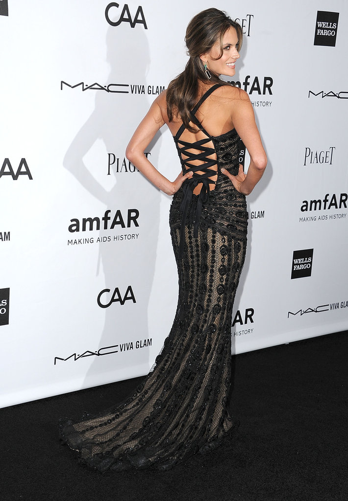 Alessandra Ambrosio posed for photos at the amfAR 3rd Annual Inspiration Gala in LA.