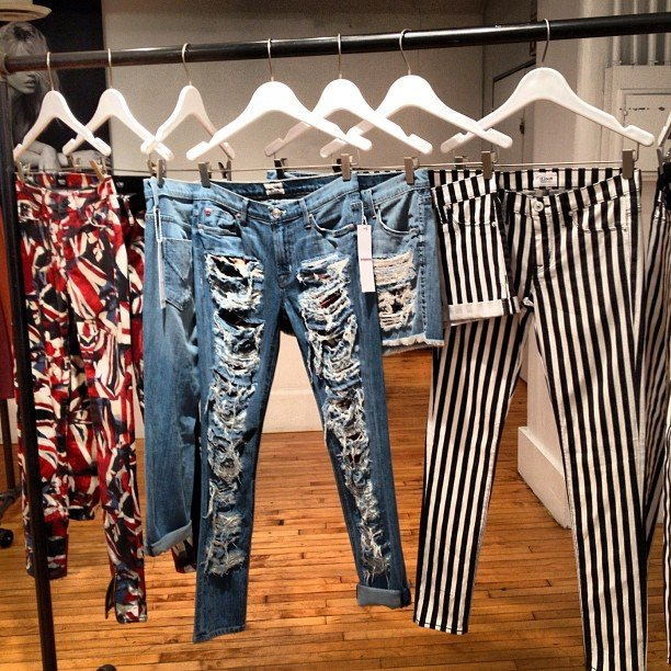 We caught a glimpse of the Hudson jeans collection. How amazing is that striped pair?