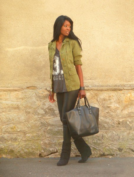 Take a t-shirt from basic to street-chic with an anorak, leather bottoms, and luxe-looking accessories. Source: Lookbook.nu