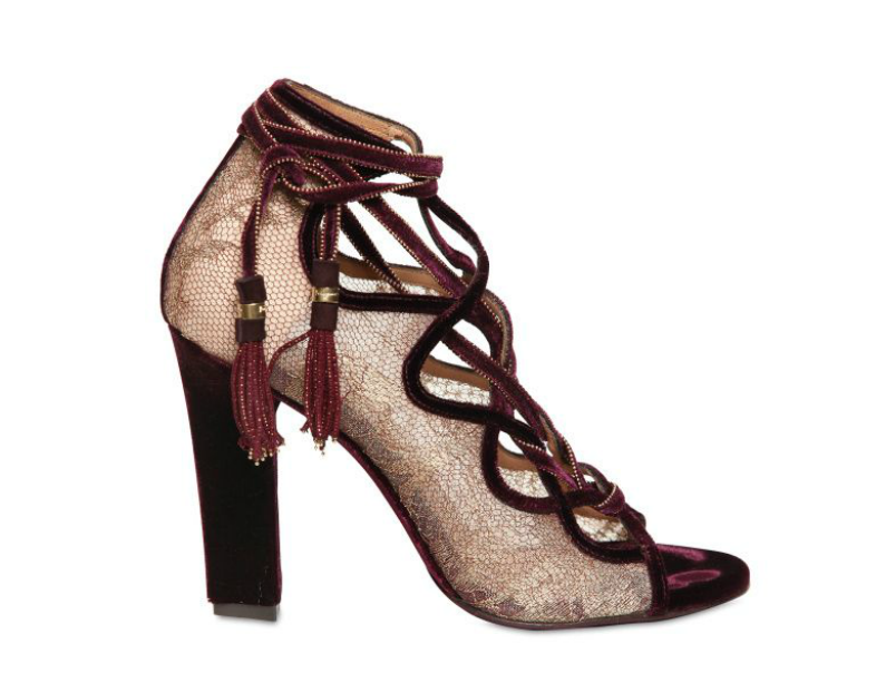 The Salvatore Ferragamo 110mm Tokara Lace Velvet pumps ($1,336) are, without a doubt, one of the sexiest pair of shoes we've every laid eyes on. Between the plush fabric, rich wine color, and downright sultry lace-up front, there's no way around it: this is a sexy statement from start to finish.