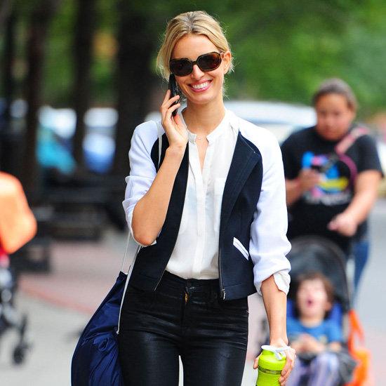 Karolina Kurkova Wearing Varsity Jacket