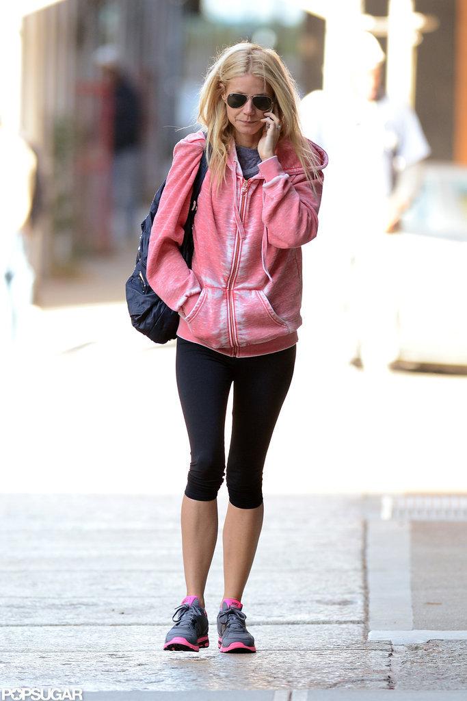 Gwyneth Paltrow walked to an NYC gym.