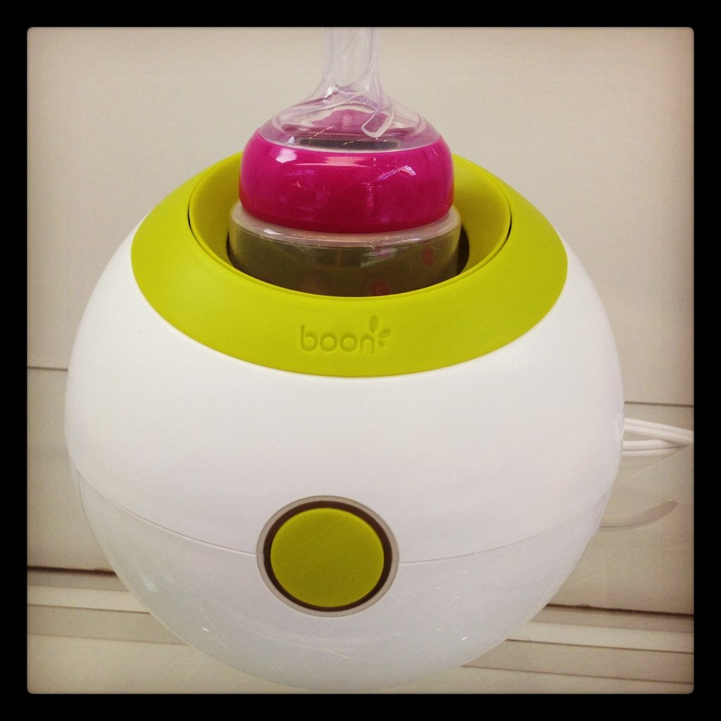 Boon's Orb will warm bottles and food jars using steam. It's so small that it takes up next to no space on the counter.