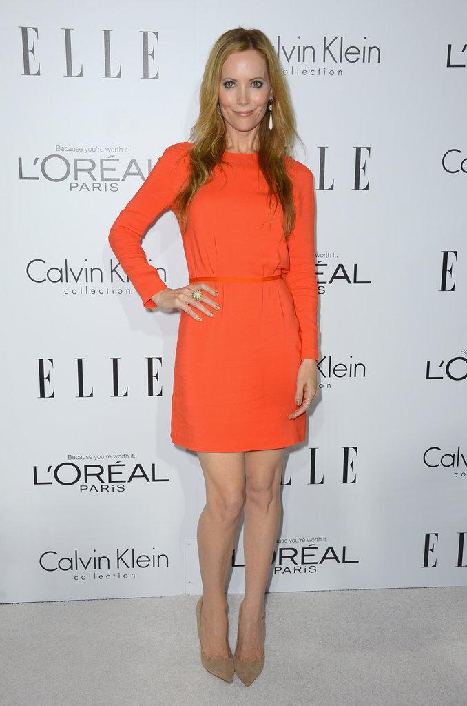 Leslie Mann stood out in orange.