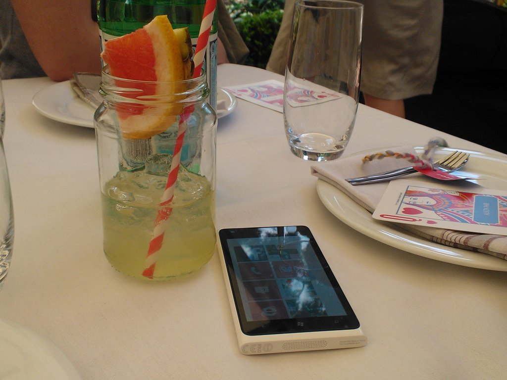 Fruit cocktails in jam jars with our Nokia Lumia 900 — that's how you roll at an OPSM garden party.