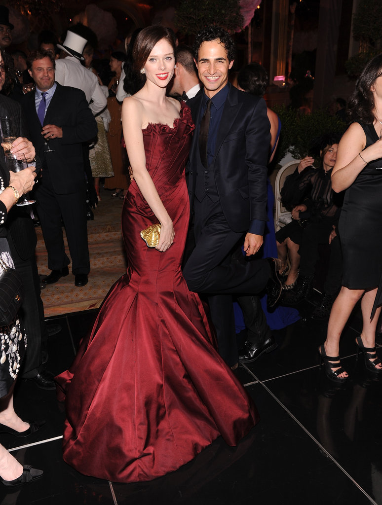 Coco Rocha posed with one of her favorite men, Zac Posen, wearing the designer's extravagant red strapless mermaid gown.