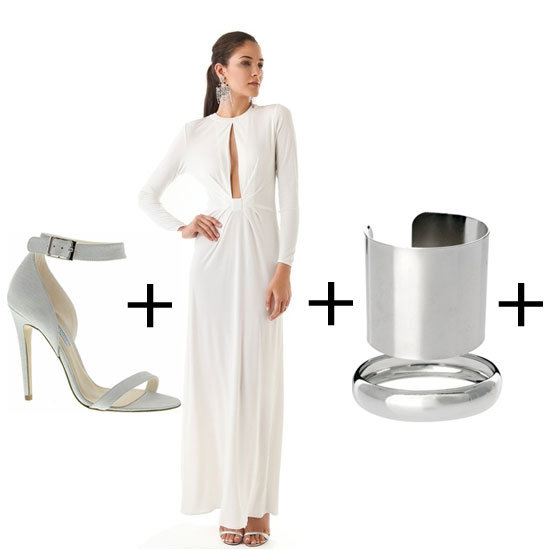 The key to making this look modern is to pick slick, streamlined accessories. If the dress code isn't black tie, we suggest you side-step the bling and choose moulded metal extras to finish the look off. Heels, $149.95, Tony Bianco, Dress, approx $776, Issa at Shopbop and bangles, appro $20 for set of two, ASOS