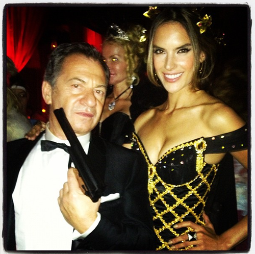 Alessandra Ambrosio went to a James Bond theme party.  Source: Instagram user alecambrosio