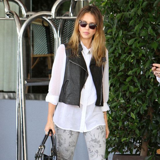 Jessica Alba Wearing Gray Floral Jeans With Black Vest