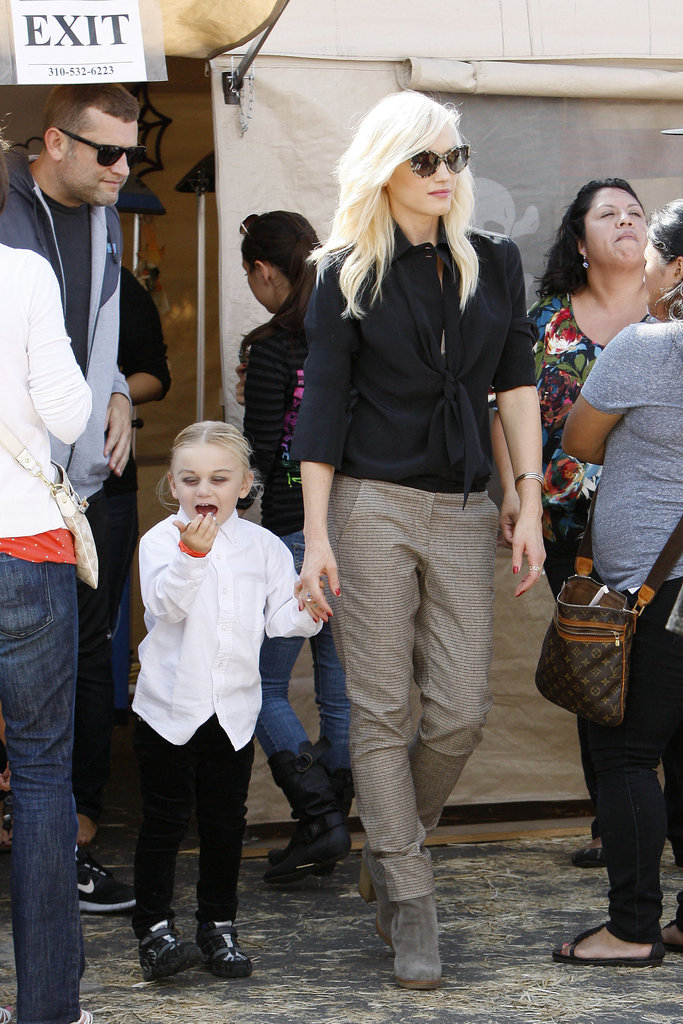 Gwen Stefani held hands with Zuma Rossdale.