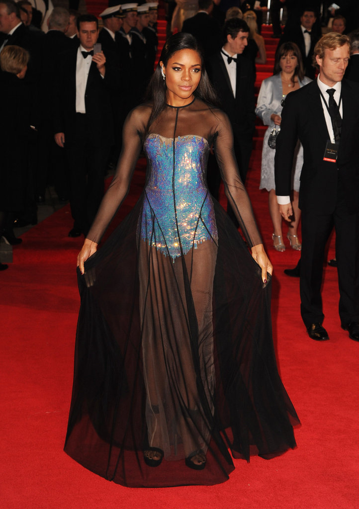 Naomie Harris showed off her legs under a sheer black gown at  Skyfall's London premiere.