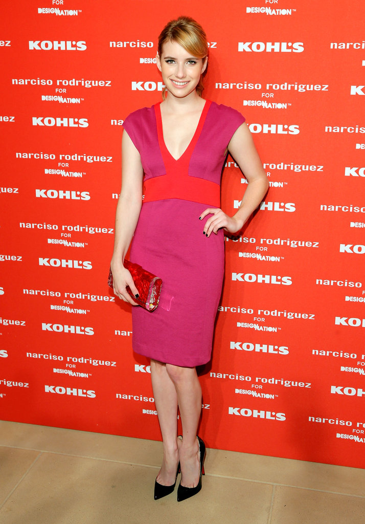 Emma Roberts struck a pose on the red carpet at Narciso Rodriguez's Kohl's collection launch party in NYC.