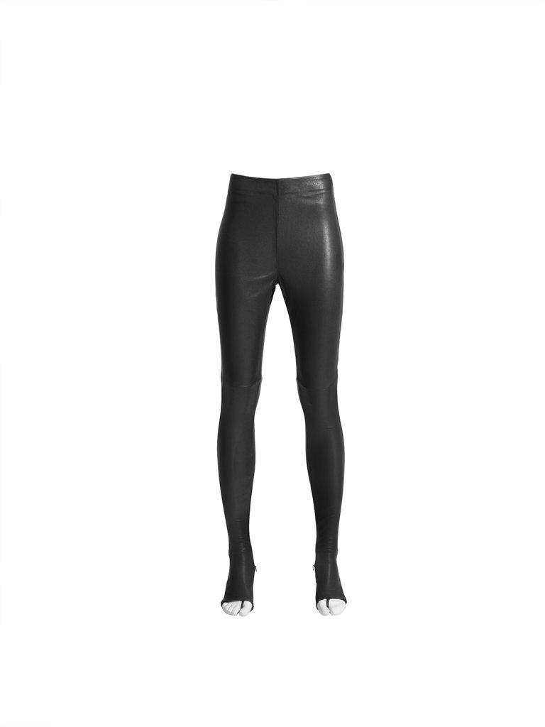 Leather drainpipe pants ($349)