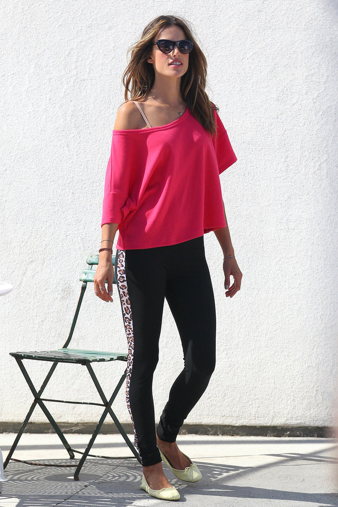 Alessandra Ambrosio looked pretty in pink.
