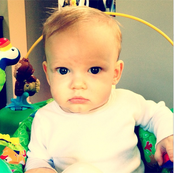 Hilary Duff couldn't get over how cute lil Luca was in his exersaucer. Source: Instagram user hilaryduff