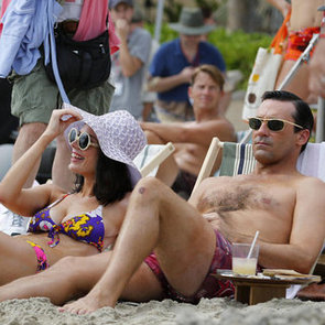 Shirtless Jon Hamm and Bikini-Clad Jessica Pare Pictures