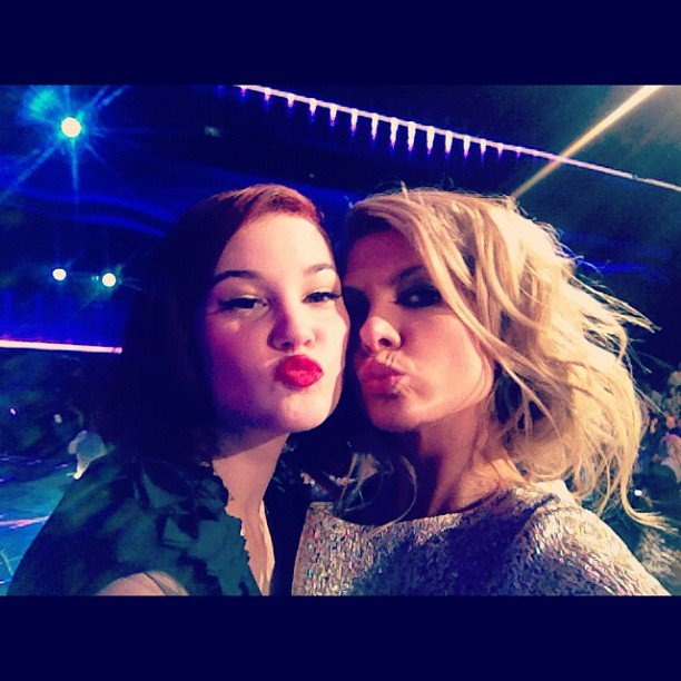 The X Factor's Bella Ferraro puckered up with her mentor Natalie Bassingthwaighte after her performance on Monday night. Source: Instagram user natbassingthwaighte