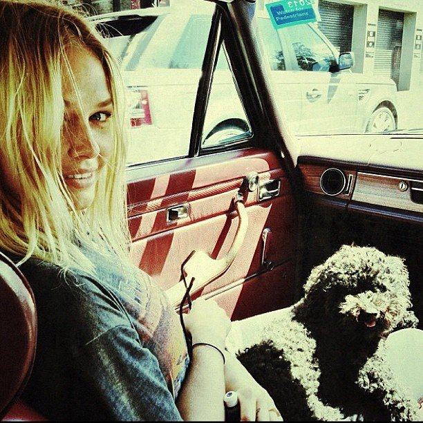 Lara Bingle looked naturally gorgeous in the passenger seat. Source: Instagram user mslbingle