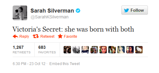Sarah Silverman has a theory about the popular lingerie brand...