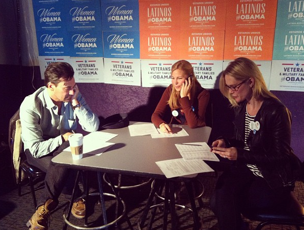 Jon Hamm, Jennifer Westfeldt and Stephanie March called voters on behalf of President Obama's re-election campaign. Source: Instagram user ofa_co