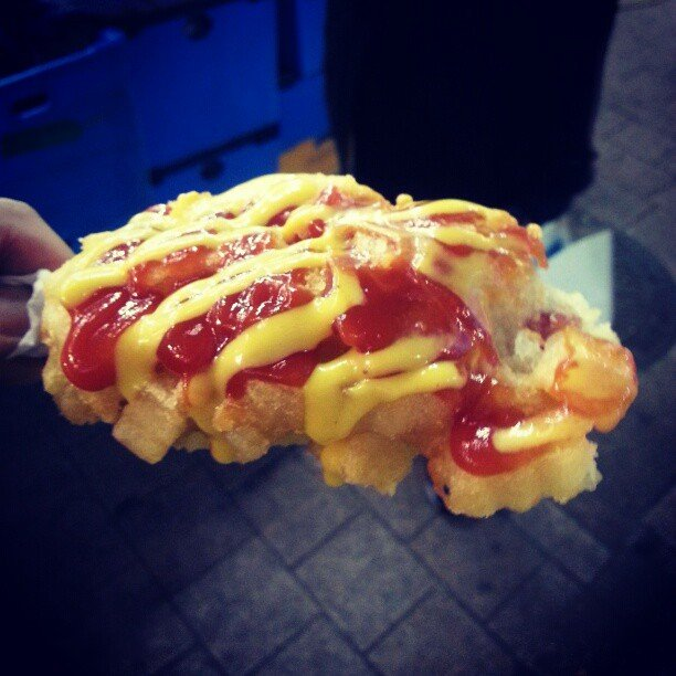 Corn Dogs Covered in French Fries in Seoul