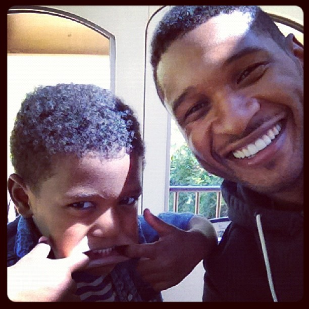 Usher posed for a silly photo with his son Naviyd in November. Source: Instagram user howuseeit