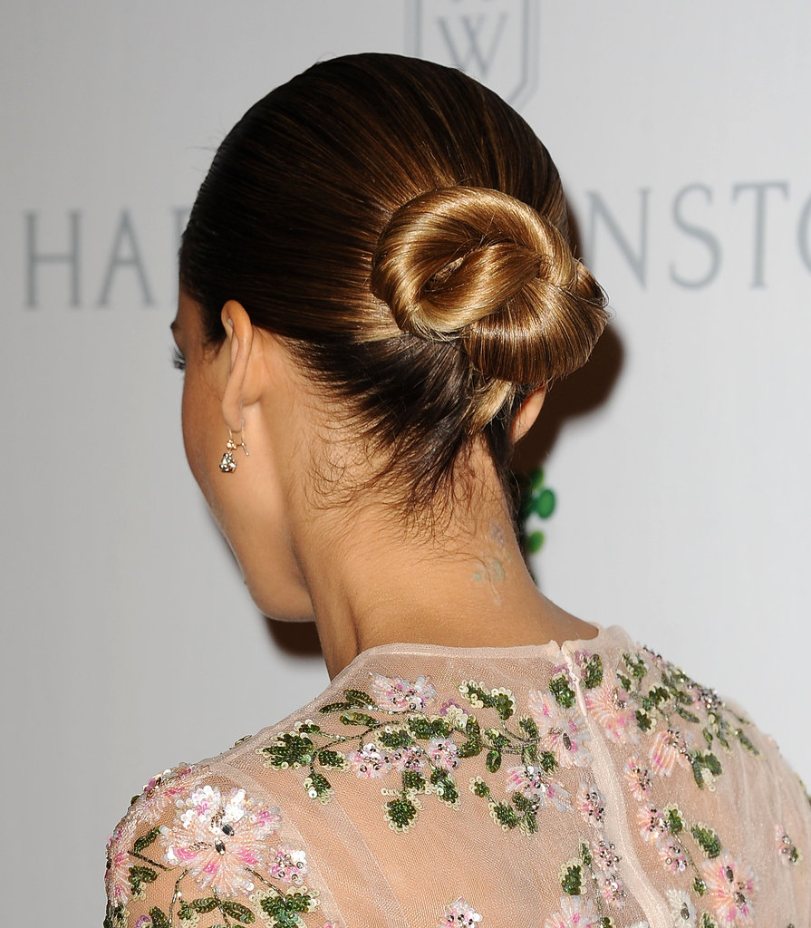 Jessica Alba wore her hair in a low bun.