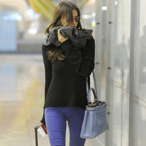 Irina Shayk Wearing Blue Colored Denim