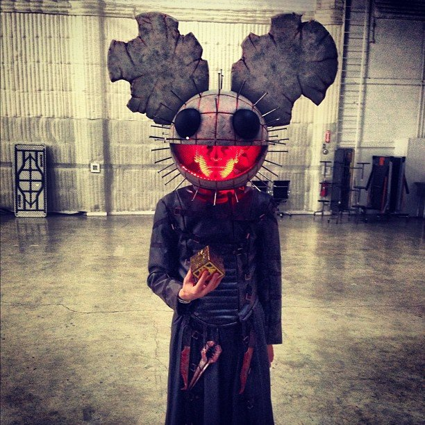 Deadmau5  wore a haunting headpiece on Halloween. Source: Instagram user deadmau5