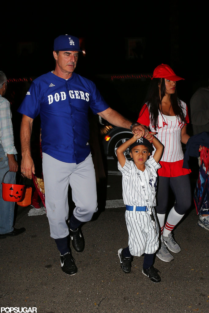 Chris Noth and his wife Tara Wilson brought their son trick or treating in Beverly Hills.