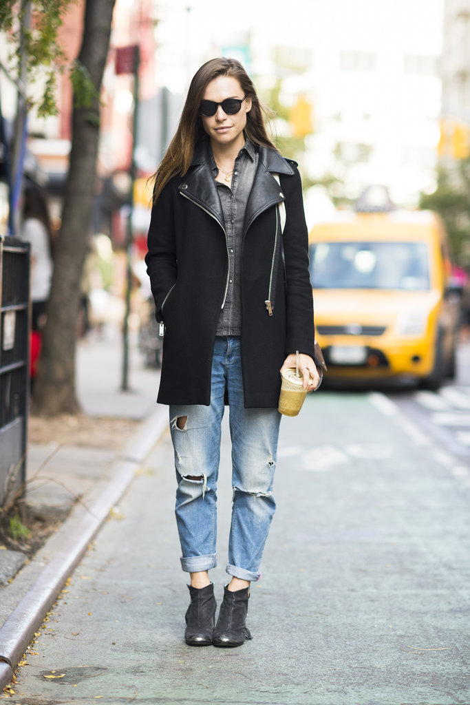 We love the warm — and street-chic — finish this moto-style coat gave a pair of distressed boyfriend jeans. Source: Adam Katz Sinding