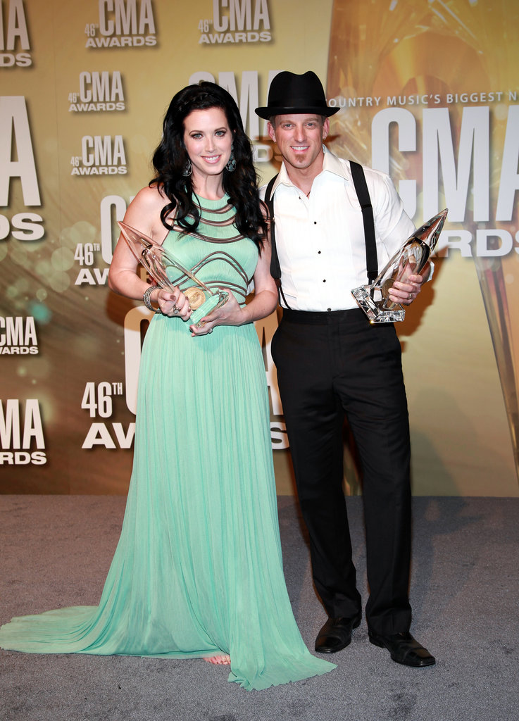 Shawna Thompson and Keifer Thompson posed for photos at the Country Music Association Awards in Nashville.