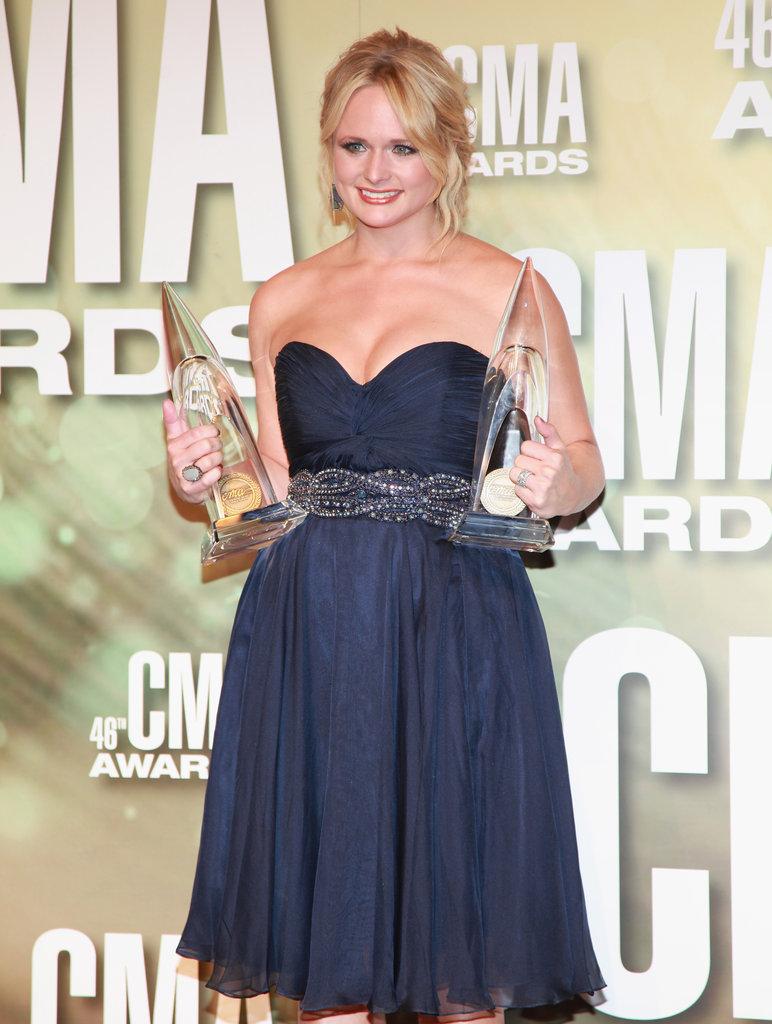 Miranda Lambert wore a strapless dress at the Country Music Association Awards in Nashville.