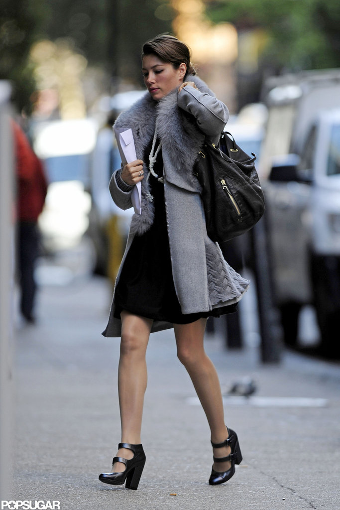 Jessica Biel showed off her wedding ring in NYC.
