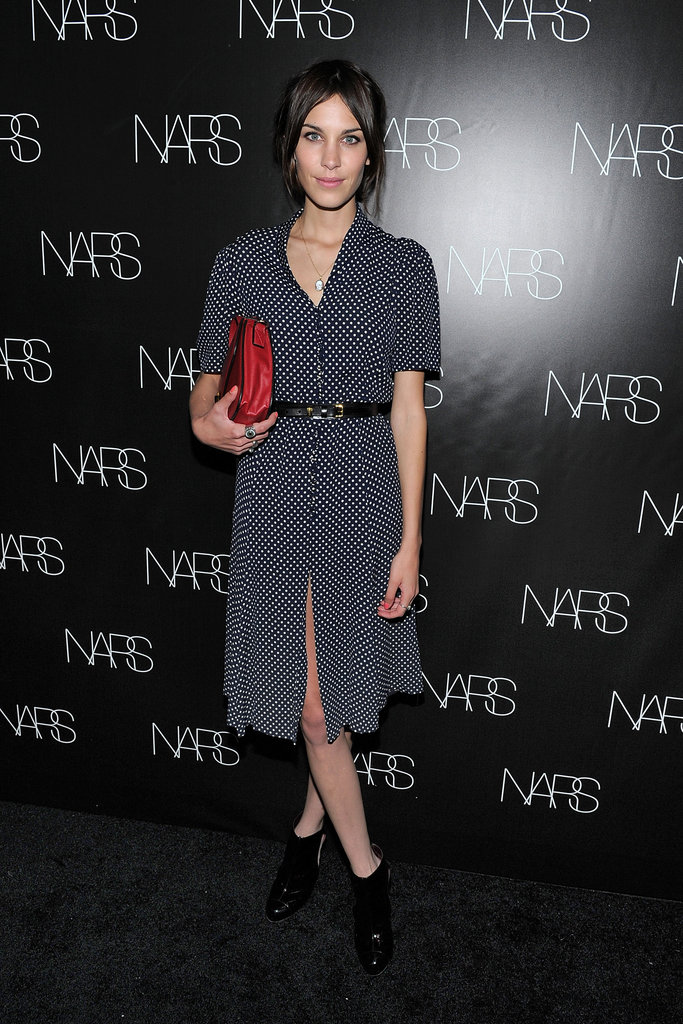 Working a chic shirtdress in NYC for the NARS book launch. Love the red bag, Lex.