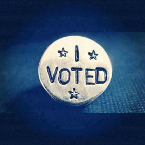 "Voting advocate Diddy wore a fancy ""I Voted"" pin. Source: Instagram user Iamdiddy"